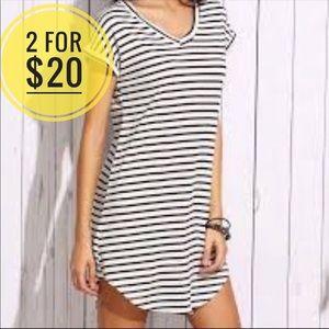 Romwe Stripe T-Shirt Midi Dress